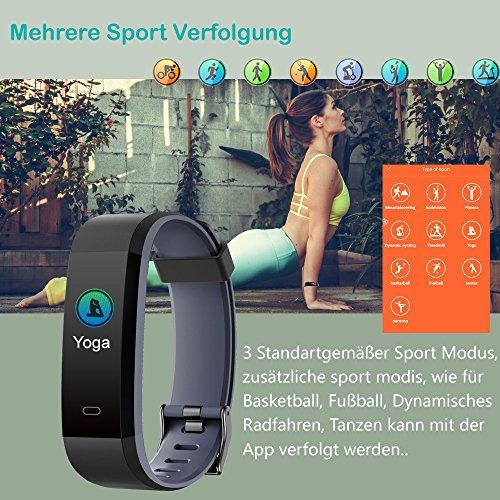 YAMAY Fitness Tracker,Wasserdicht IP68 Fitness Armband 0,96 Zoll Farbbildschirm Smartwatch Aktivitätstracker Pulsuhren Schrittzaehler Uhr Smart Watch Fitnessuhr für Damen Herren mit Schlafmonitor Kalorienzähler Vibrationsalarm Anruf SMS Whatsapp Beachten für iPhone Android Handy(Schwarz) - 4
