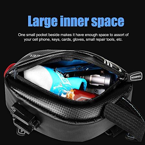Fahrrad Satteltasche Wasserdicht, BODECIN Bike Unter Seat Bag, Bike Rear Bags, Fahrrad Radfahren Sattel Tasche Seat Pack Strap-on Bag mit Reflektierenden Streifen und Rücklicht Tiefes Blau