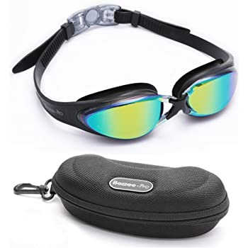 Swimming Goggles - Anti fog UV Protected Mirrored Goggles for Adult, Men, Women One Size Fits All Waterproof, No Leak Silicone Eye Cups, Adjustable Silicone Frame Swim Pool Glasses with Storage Case