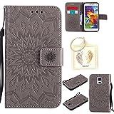 für Samsung Galaxy S5 / S5 Neo Geprägte Muster Handy PU Leder Silikon Schutzhülle Handy case Book Style Portemonnaie Design für Samsung Galaxy S5 (i9600) + Schlüsselanhänger(/*17) (3)