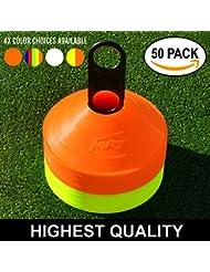 Plots de Marquage, 50 pièces, qualité supérieure, avec porte-plot [Net World Sports] (jaune et orange)