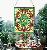 Makenier Vintage Tiffany-Stil gebeizt Art Glas Deko Libelle Gelb Fenster Panel Wand-Zum Aufhängen