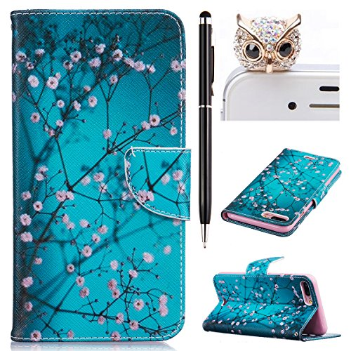 Felfy Hülle für iPhone 7 Plus 5.5 Zoll,iPhone 7 Plus Case,iPhone 7 Plus Cover PU Ledertasche Strap Flip Standfunktion Magnetverschluss Luxe Bookstyle Ledertasche Nette Retro Mode Painted Muster Abdeck Plum Blume Hülle