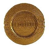 Quid Textura - Plato de presentación, diseño madera, 32,5 cm, color dorado