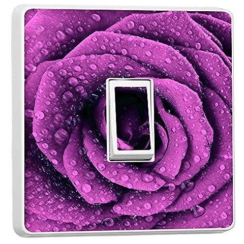 Purple dark rose Single Light Switch Cover Vinyl Sticker Home Decoration