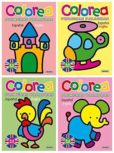 Colorea primeras palabras español - inglés (Pack de 4 libros)