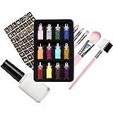 Glitter Tattoo Set Tijdelijke Body Nail Cosmetic Glitter Art Paint Tattoo Glitter sjabloon met Stencils Lijm voor Festival Sh