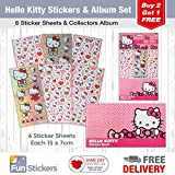 Hello Kitty Stickers, 6 Sheets, Each Sheet 14 x 7cm with Sticker Album