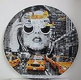 Alu Art YELLOW CAB FACE - 95 cm Kunst auf Aluminium Aussen und Innen