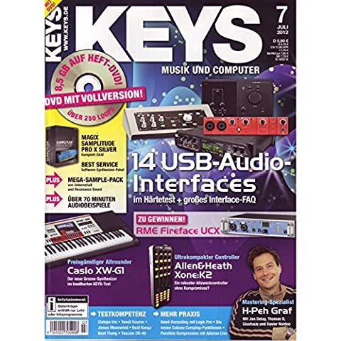 Keys 7 2012 mit DVD - USB Audio Interfaces - Magix Samplitude Pro X Silver Software auf DVD - Personal Samples - Free Loops -