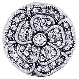 Morella Damen Click-Button Druckknopf Blume mit weißen Zirkoniasteinen