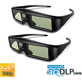 40a2917c0 ExquizOn 2 Packs Ultra-Clear HD 96-144Hz DLP LINK 3D Active Rechargeable  Shutter Glasses for All 3D DLP Projectors BenQ, Optoma, Dell, Mitsubishi,  Samsung, ...