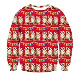 Leapparel Ladies Women Girl Ugly Christmas CutePizza Cat Printed Pullover Sweater Jumper Red