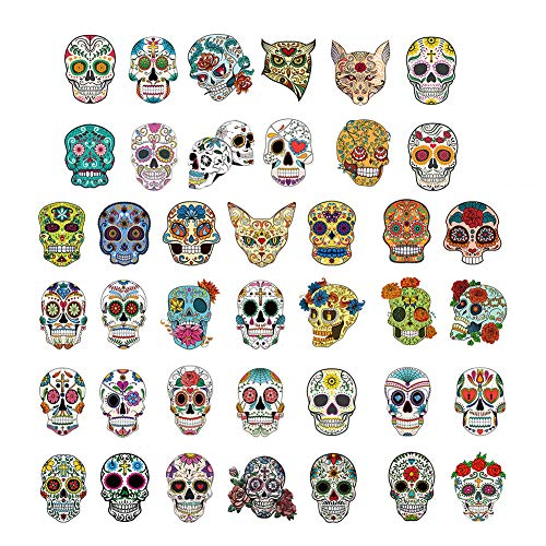 Phogary 40 Hojas Tatuajes de Calaveras para niños, Tatuaje de...