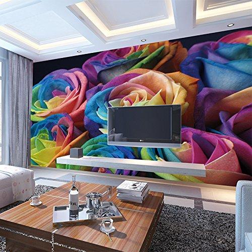Hochwertiges 3D farbiges Rosen-Blumen-Wandbild Photofor Wohnzimmer KTV-Verein-Wand-Dekor-kundenspezifisches Größen-nichtgewebtes Tapeten 450x310cm