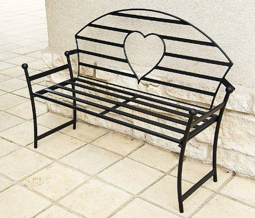 DanDiBo Gartenbank mit Herz aus Metall Schwarz Bank 122 cm Sitzbank 80006 Baumbank Garten
