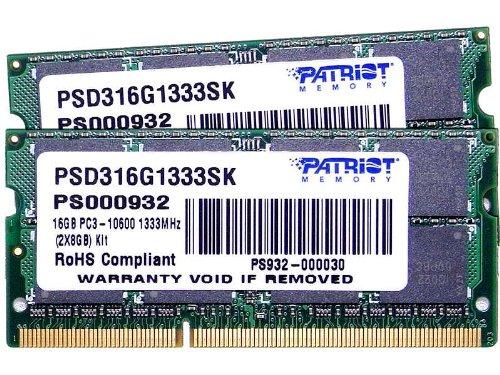 Patriot Signature PC3-10600 Arbeitsspeicher 16GB (1333MHz, 204-polig, 2x 8GB) DDR3-RAM Kit