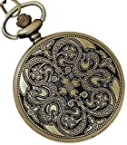 Lmp3Creation Forest Bronze Vintage Retro Antique Skeleton Hollow Dancing Analogue White Dial Chain Pocket Watch For Unisex (Pow-0040)