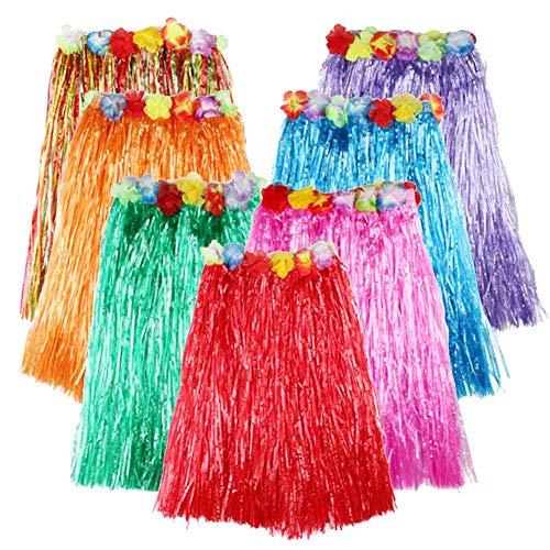 Tanz Bunten Kostüm - Templom SIX Elastischer hawaiischer Hula-Tanz-Gras-Rock-Gras-Hibiskus-Blumen-Geburtstags-Tropische Gastgeschenke(7 Stück-23,6 Zoll)