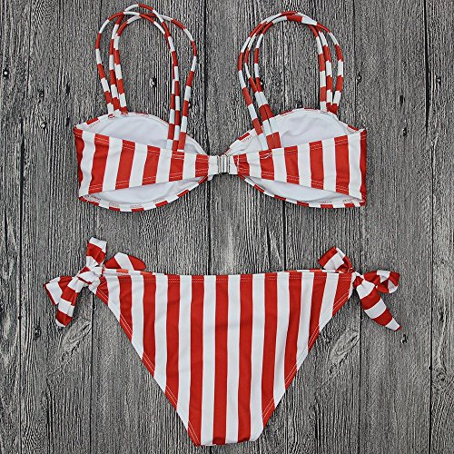 Vovotrade Bikini Push Up Swimsuit Costume da bagno donna stampato a righe con fasciatura Rosa
