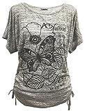 Yidarton Sommer Frauen Bluse weg von der Schulter Short Sleeve Feder Druck Muster Jumper Tops Pullover T-Shirt (S/ EU 36-38, Schmetterling-Grau)