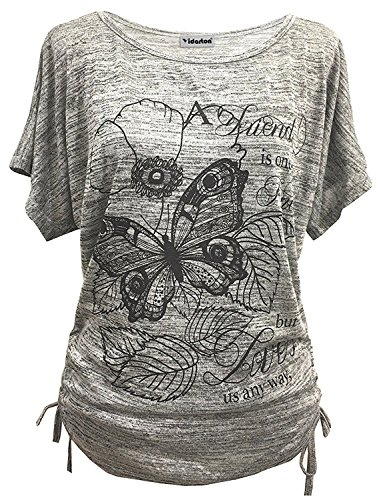 Yidarton Sommer Frauen Bluse weg von der Schulter Short Sleeve Feder Druck Muster Jumper Tops Pullover T-Shirt (M/ EU 38-40, Schmetterling-Grau)
