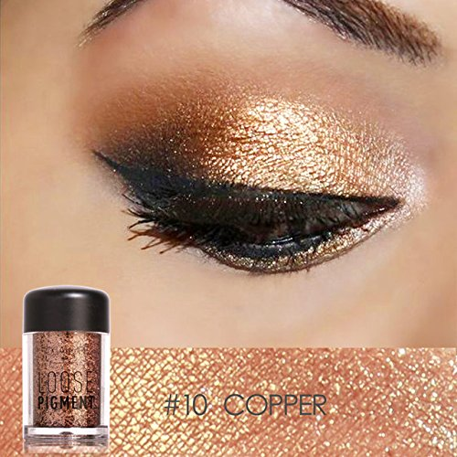 Tiomiey 18 Colors Glitter Eye Shadow Cosmetic Makeup Diamond Lips Loose Makeup Eyes Pigment Powder Comestic Single Eye Shadow (#10) -