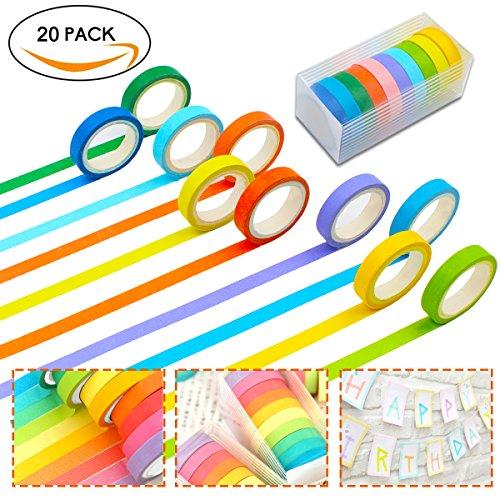 t, Rainbow Color Sticky Papier Masker Klebeband Zeitschriften Scrapbooking und Handwerk DIY Dekoration, 20Rollen Washi Tape blau colorful Bulk Billig Basteln (Bulk-dekorationen)
