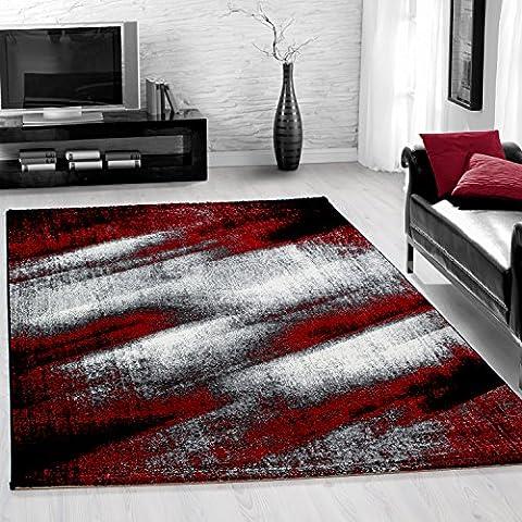 Modern designer Teppich für Wohnzimmer, Gästezimmer, Jugenzimmer Teppiche mit 3D Motive_LIMA_1910_ROT_der Teppich wurde mit OEKOTEX zertifiziert, Maße:200x290 (Teppich Rot)