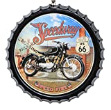 aubaho Blechschild Motorrad Route 66 Speedway Schild 50cm Magnettafel Deko Antik-Stil