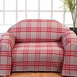 Homescapes Funda de sofa gris a rayas Rojas de 150 x 200 cm en 100% Algodon