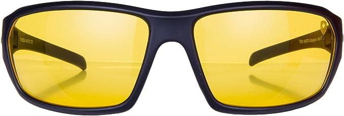 Tom Martin Men's UV-400 Protected Sunglasses Night Driving Glasses Hector Sports Wrap Matte Black, 64mm (Translucent Yellow Lens, TM-1625SS-AA)