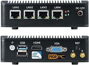 Picopc Intel Celeron J1900 4 Lan Fanless Firewall Router Mini Pc