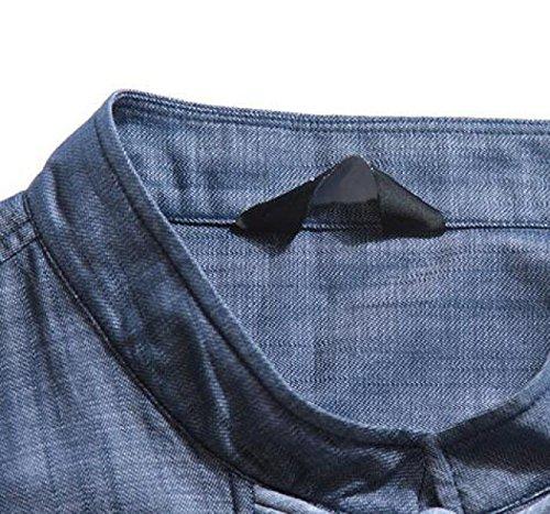 Tasti Del Piatto Retrò Da Uomo Camicia A Maniche Lunghe Grandi Dimensioni Shirt T-shirt Blue