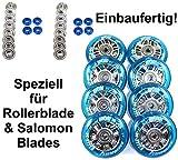 Hyper 4er/8er NX-360 Speed-Rollen Set 80mm /84a für Salomon Rollerblade Skate nur Rollen oder Inlinerrollen fertig montiert - Einbauen losfahren incl. Rollen + Kugellager ABEC 7 +Spacer 8mm ...