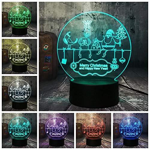 CFLEGEND3D luce notturna (touch + telecomando) auto personaggio dei cartoni animati regalo giocattolo per bambini telecomando lampada da tavolo touch decorazioni luci della festa di casa 7 colori USB