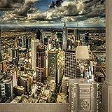 Tapeten Wandbild Wandaufkleberwandbild New York Große Wandbild Tv Hintergrund Wand 3D Wallpaper Europäischen Architektonischen 3D-Tapeten Angepasst Tapete Stadt, 300 * 210Cm