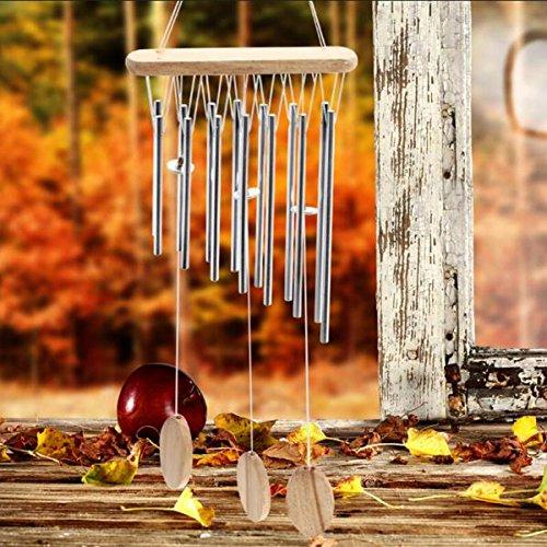 Silber 12 Röhren Metall Glocken Windspiel Im Freien Gartendekoration Geschenk Hängen - 5