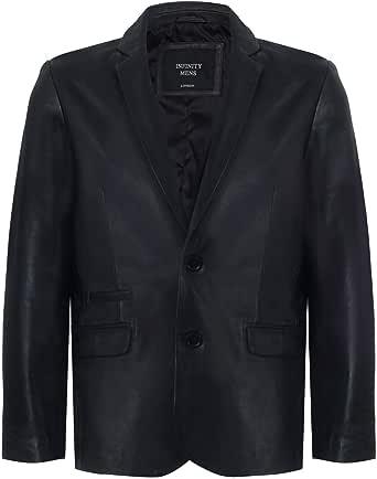 Men's Black Genuine Leather Blazer Soft Real Italian Fitted Vintage Jacket Coat