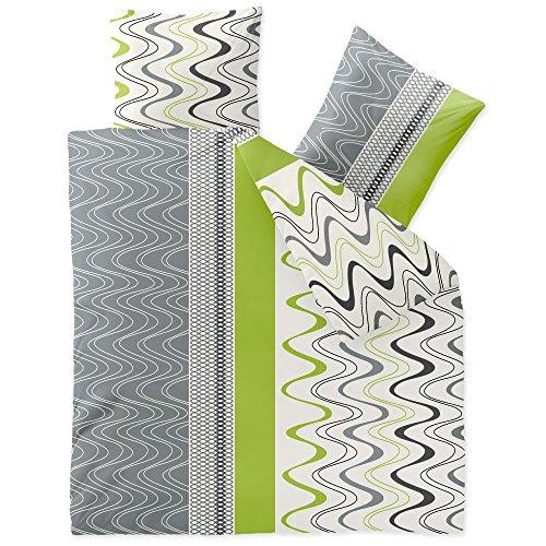 CelinaTex Winter Bettwäsche 200x220 Microfaser Fleece Bettbezug mit 80x80 Kissenbezug Style Bettgarnitur Louisa Wellen Kreise gestreift weiß grau grün 0003267