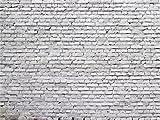 1art1 77397 Mauern - Weiße Ziegelsteinmauer, 4-Teilig Fototapete Poster-Tapete 360 x 255 cm