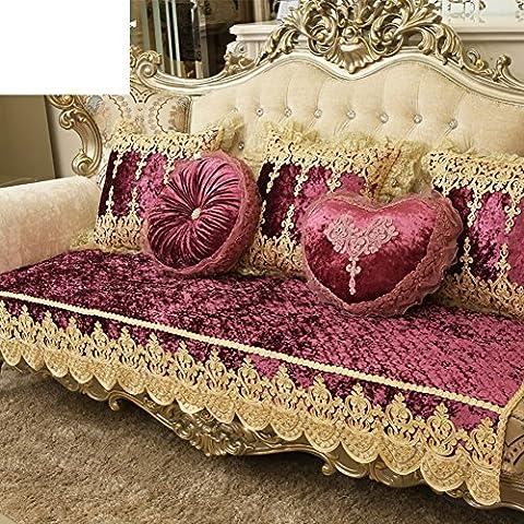 serviette de canapé/style européen,coussins de canapé/haut de gamme, coussin/anti-dérapant,Épaissir,embellie & brodé,housse de sofa en cuir de luxe-D 50x60cm(20x24inch)