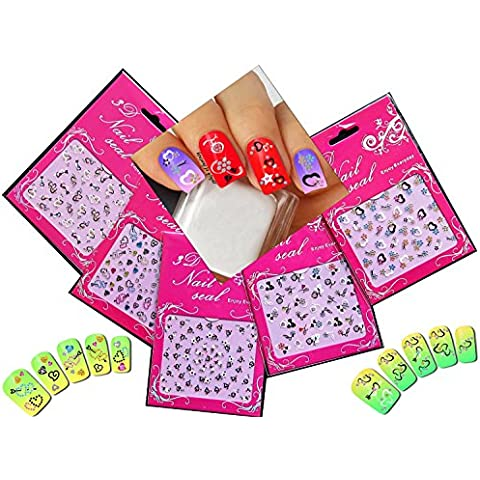 adesivi 3D nail art adorbale decalcomanie con strass cuori, fiori vari, confezione da 5// Adorable Nail Art 3D Stickers Decals With Rhinestones Hearts / Flowers Variety Pack of 5
