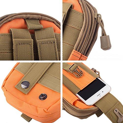 Molle Pouch Tattico Marsupio Militare Borselli da Cintura con Moschettone in Alluminio Gratis per Campeggio Outdoor Sports (Verde) Arancione