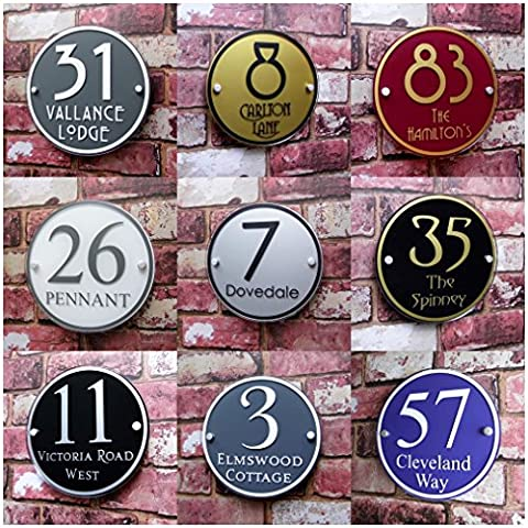 Premium Quality Personalised House Sign Address Plaque Door Number Street Modern 'Large Round' MADE TO ORDER