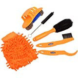 Fahrradreinigungs-Kits,, Shineus 6Pcs Fahrrad-Reinigungs-Bürsten-Ketten-Reiniger-Reifen-Bürsten mit Fahrrad-Reinigungs-Handschuhen