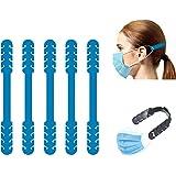 TBOC Verstelbare Maskerverlengingshaak - [Pack 5 Eenheden] Extender Haken [Blauw] Siliconen Hook met Grepen Anti-Aanspanning