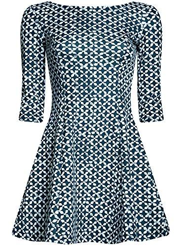 oodji Ultra Damen Bedrucktes Jersey-Kleid Blau (7912G)