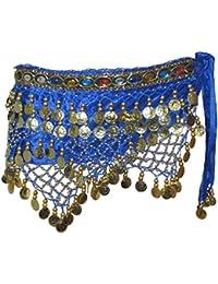 Profi Dance Tanztuch Hüfttücher Tanztücher in optischen festen Samtdesign gold Münzen
