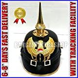 Deutsches Leder Pickelhaube Preußische Krieg Helm Garde Baden lang Spike
